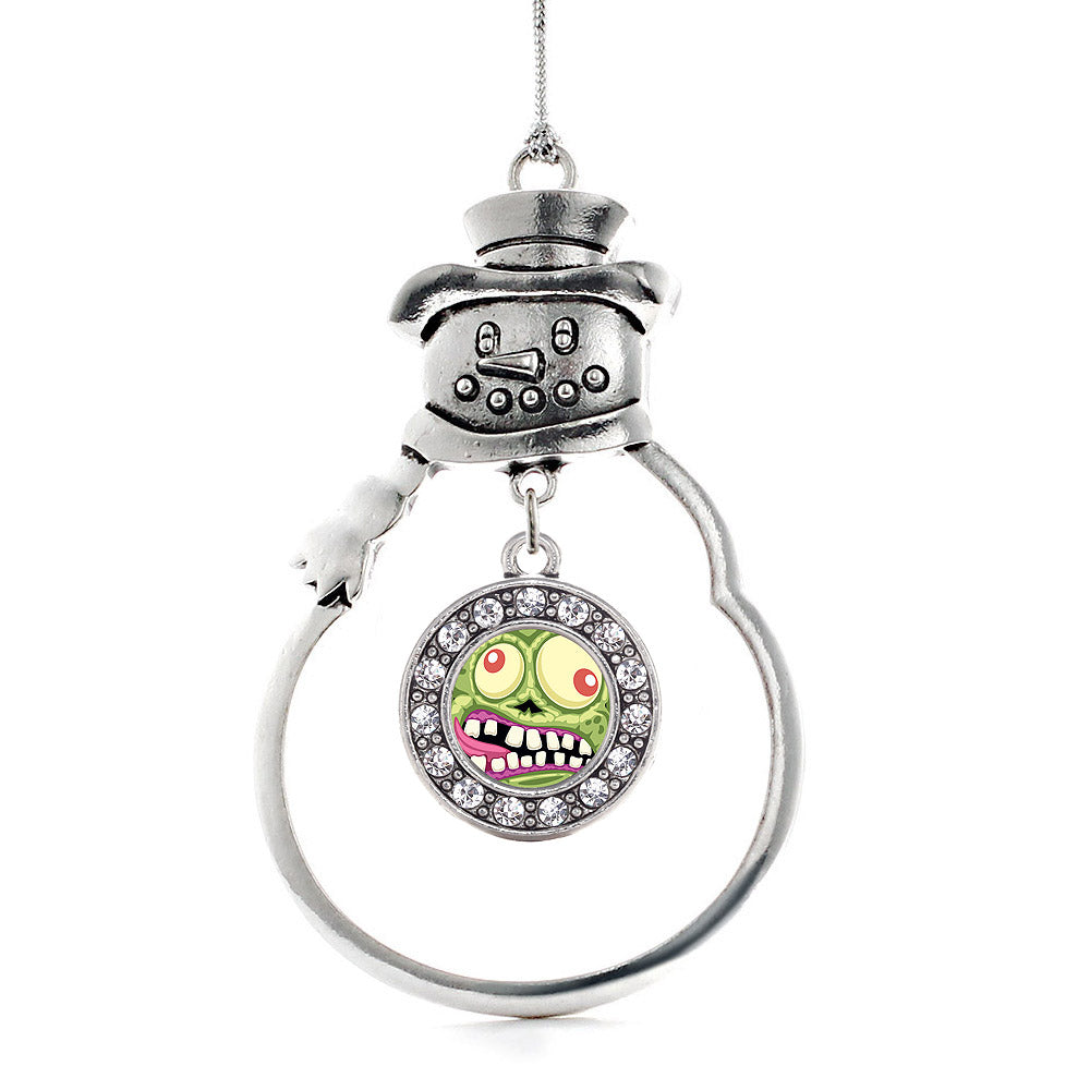 Hungry Zombie Circle Charm Christmas / Holiday Ornament