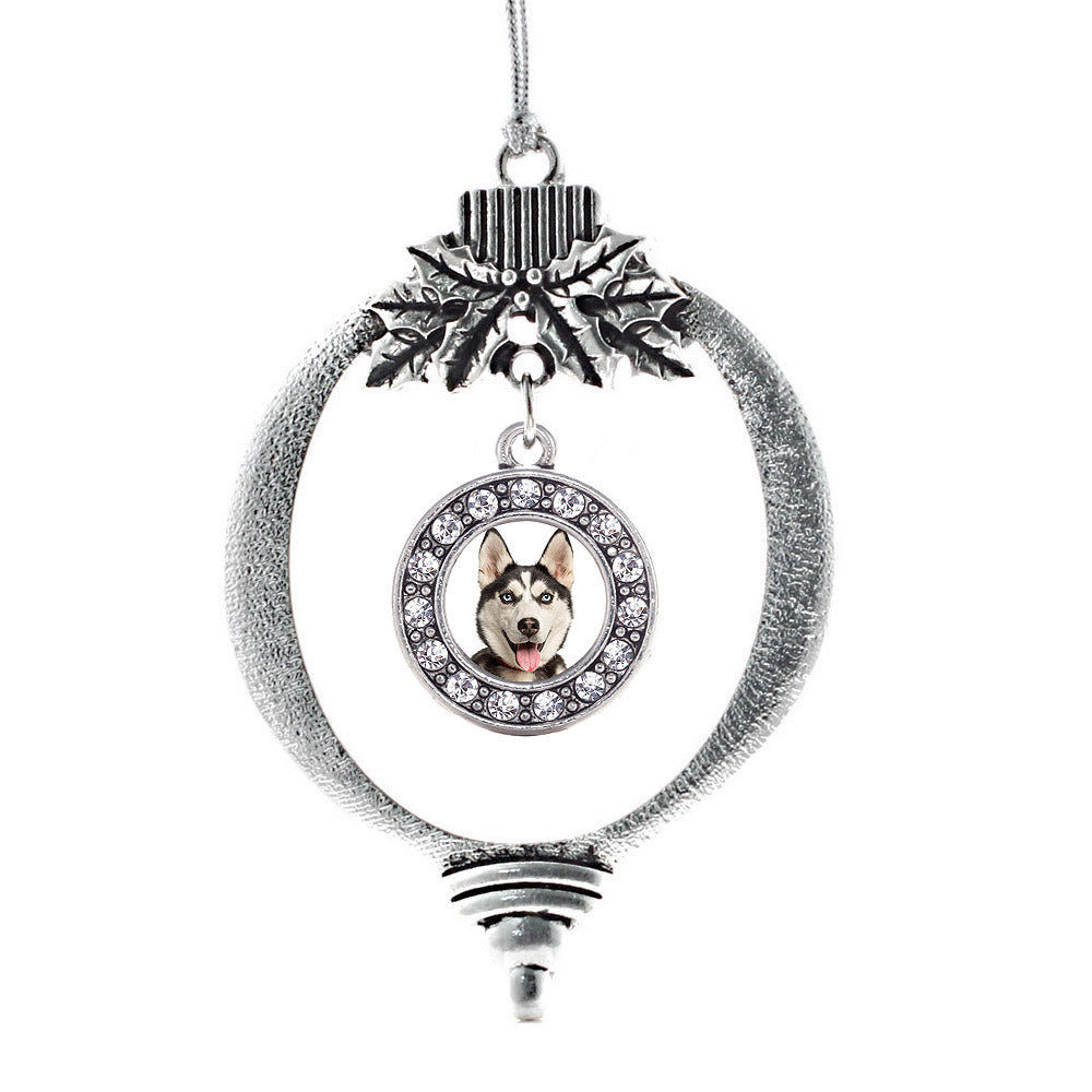 Siberian Husky Circle Charm Christmas / Holiday Ornament