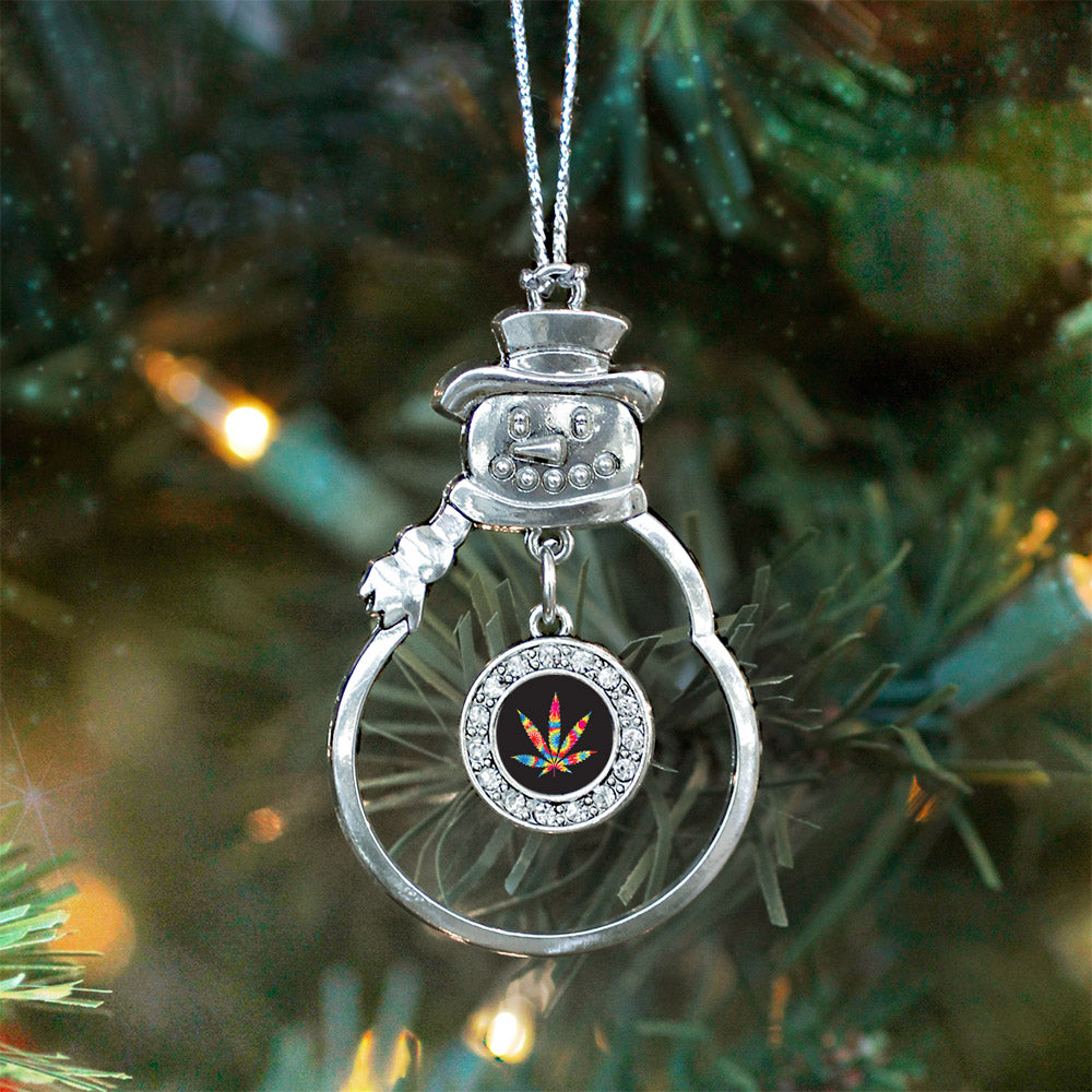 Tie Dye Marijuana Leaf Circle Charm Christmas / Holiday Ornament