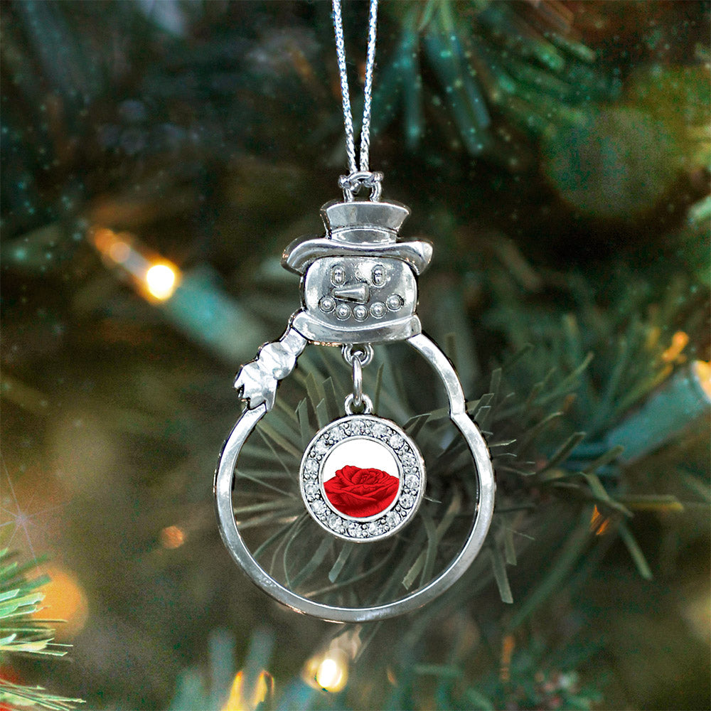 Red Rose Circle Charm Christmas / Holiday Ornament