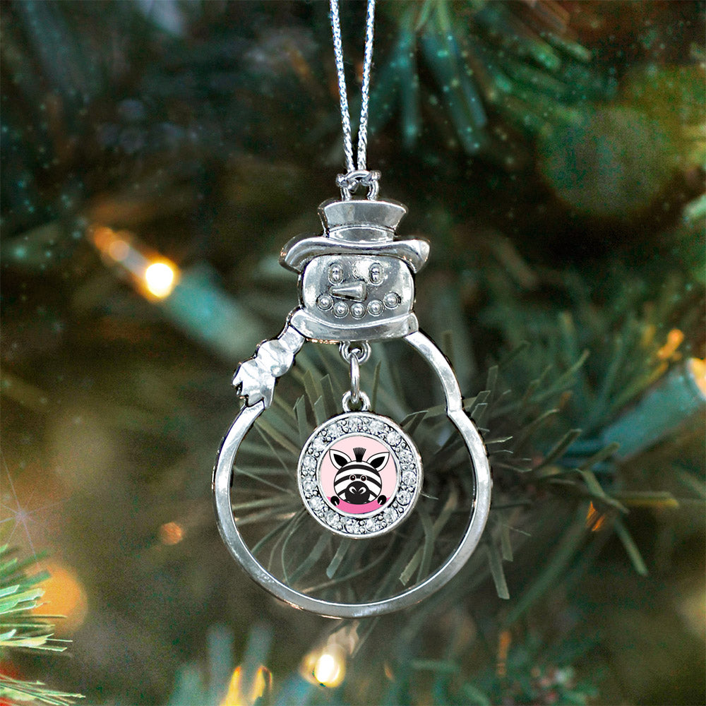 Peeking Zebra Circle Charm Christmas / Holiday Ornament