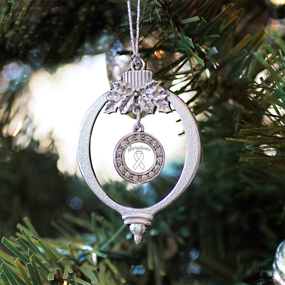 White Ribbon Survivor Circle Charm Christmas / Holiday Ornament