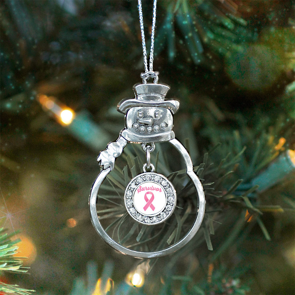 Pink Ribbon Survivor Circle Charm Christmas / Holiday Ornament