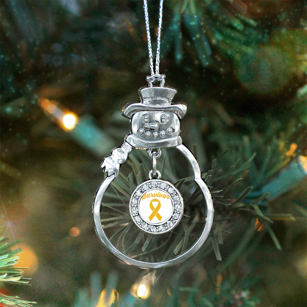Yellow Ribbon Survivor Circle Charm Christmas / Holiday Ornament
