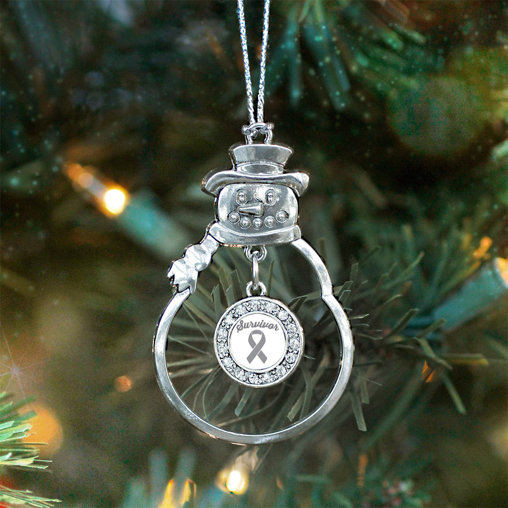 Gray Ribbon Survivor Circle Charm Christmas / Holiday Ornament