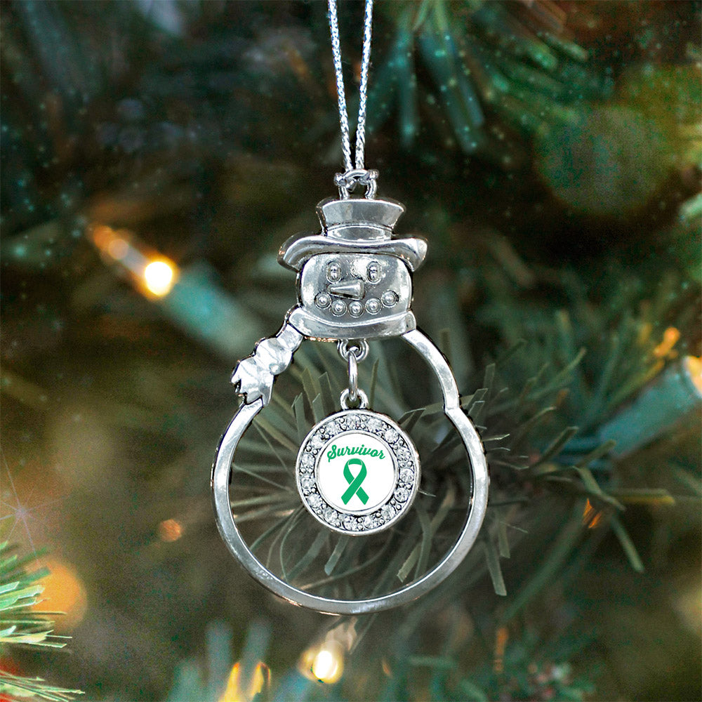 Green Ribbon Survivor Circle Charm Christmas / Holiday Ornament