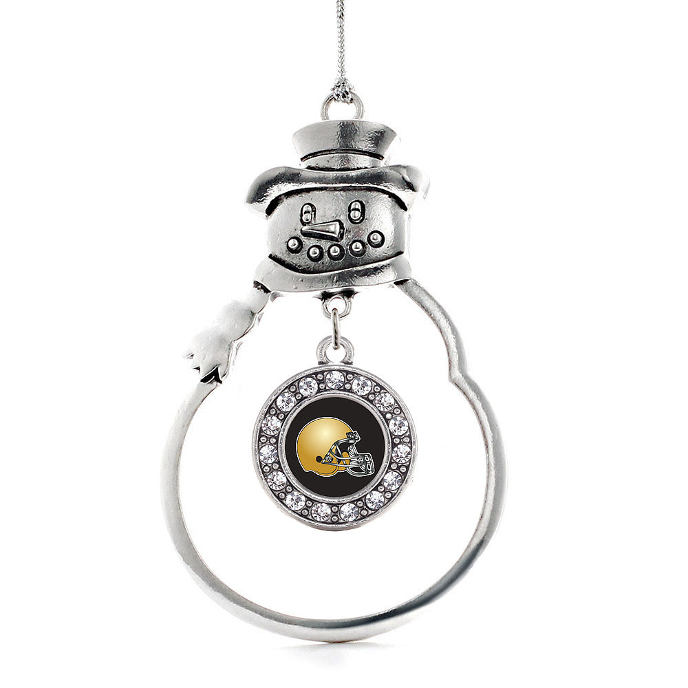 Black and Gold Team Helmet Circle Charm Christmas / Holiday Ornament