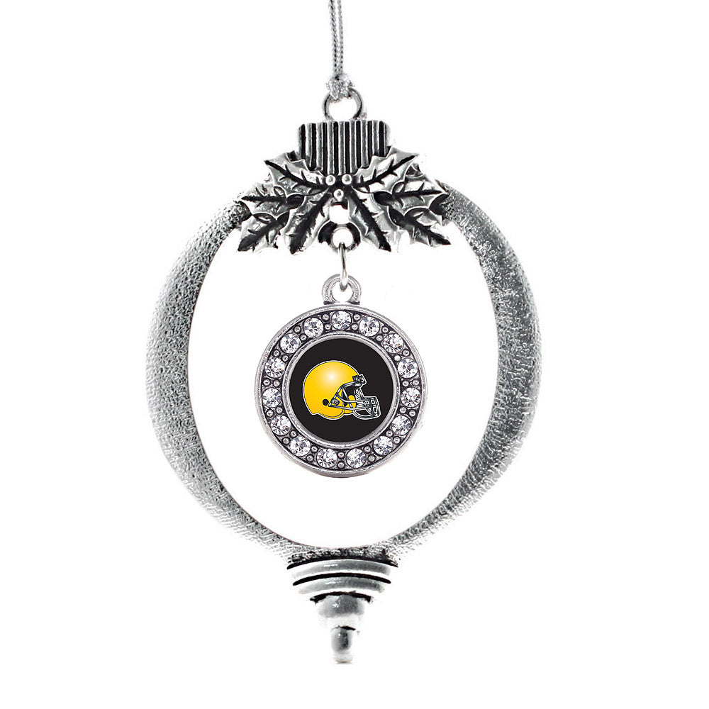 Black and Yellow Team Helmet Circle Charm Christmas / Holiday Ornament