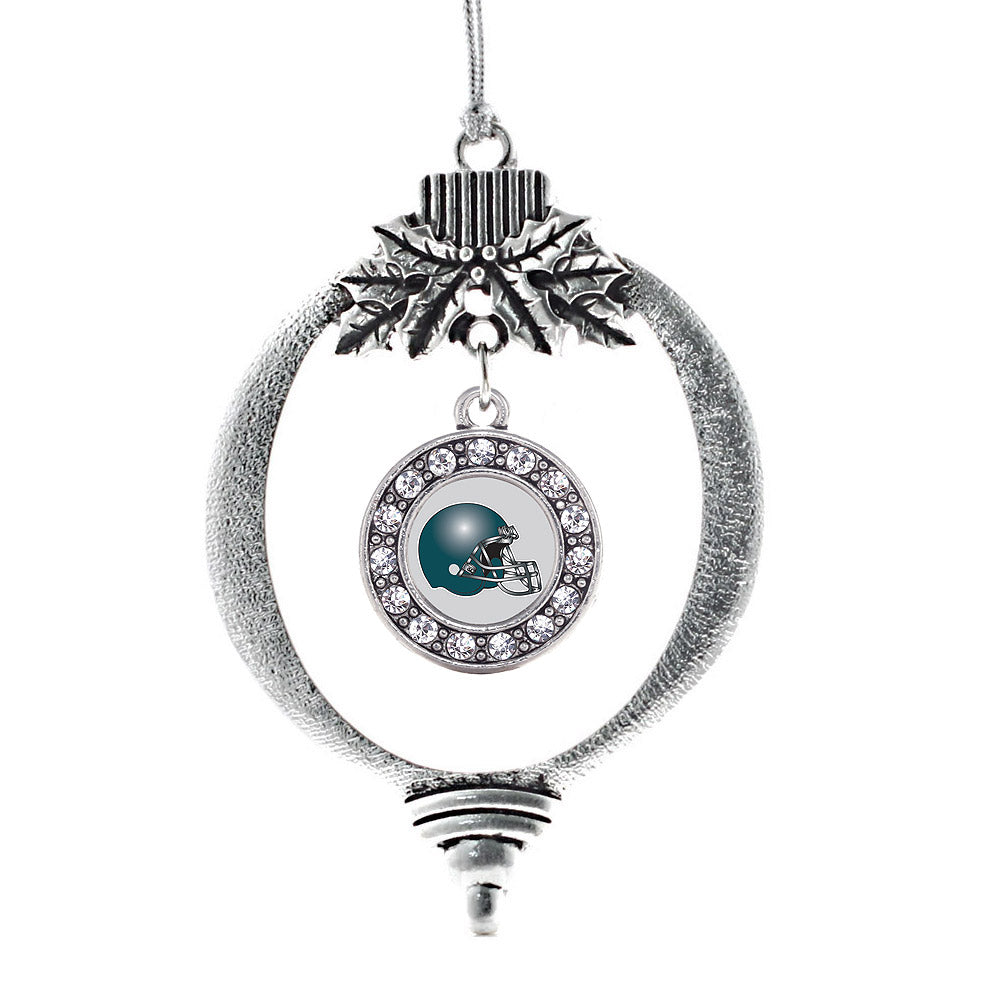 Grey and Turquoise Team Helmet Circle Charm Christmas / Holiday Ornament