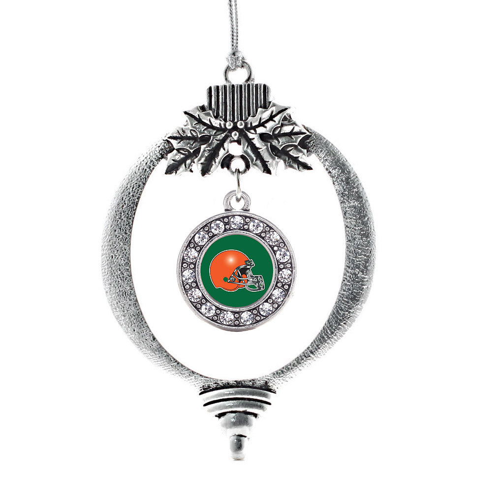 Green and Orange Team Helmet Circle Charm Christmas / Holiday Ornament