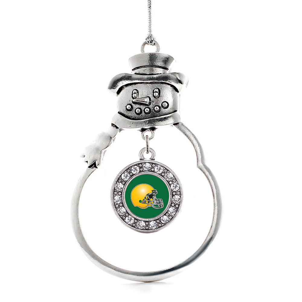 Green and Yellow Team Helmet Circle Charm Christmas / Holiday Ornament