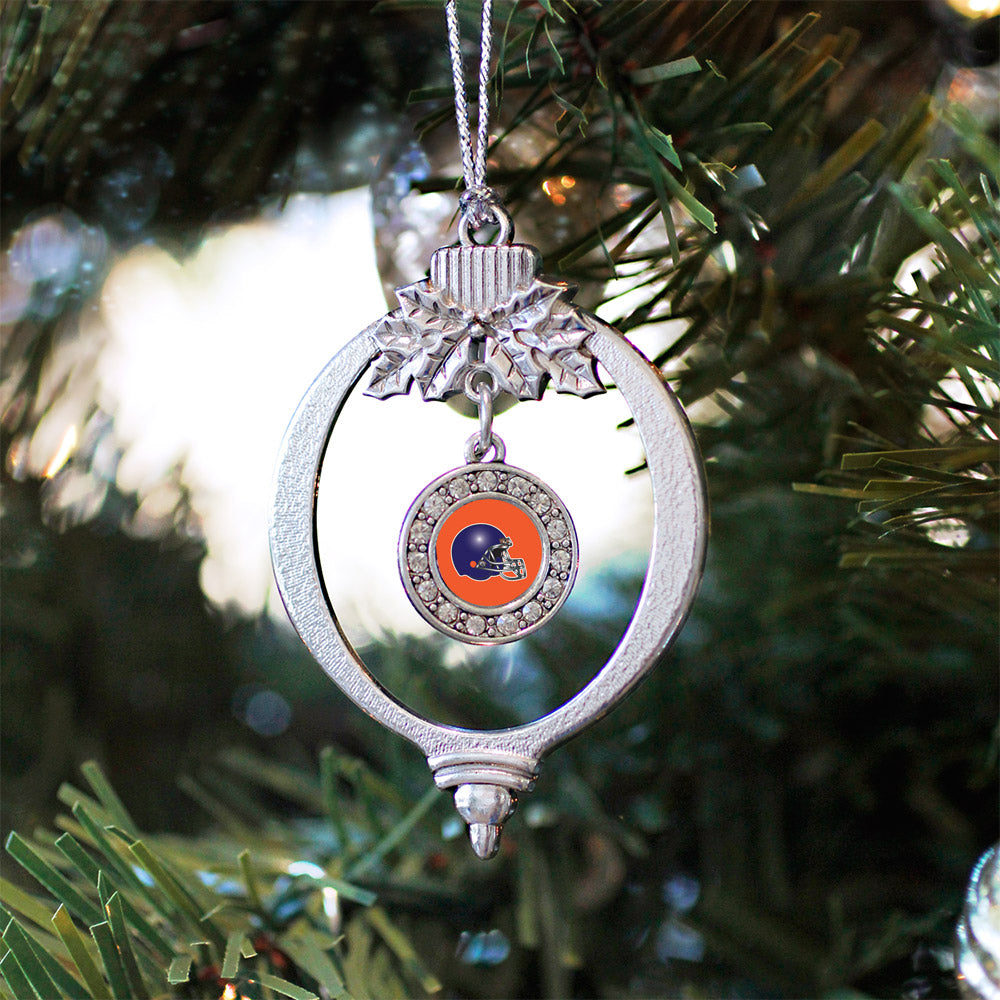 Orange and Blue Team Helmet Circle Charm Christmas / Holiday Ornament