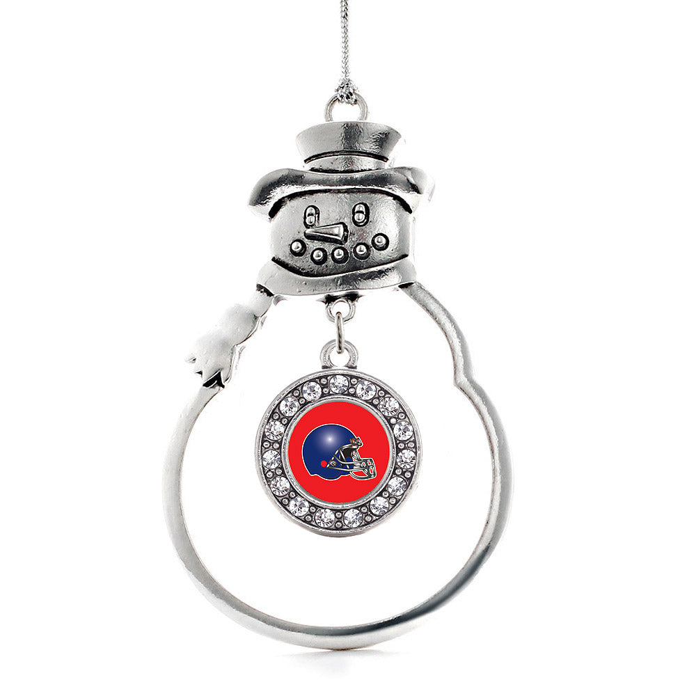 Red and Blue Team Helmet Circle Charm Christmas / Holiday Ornament