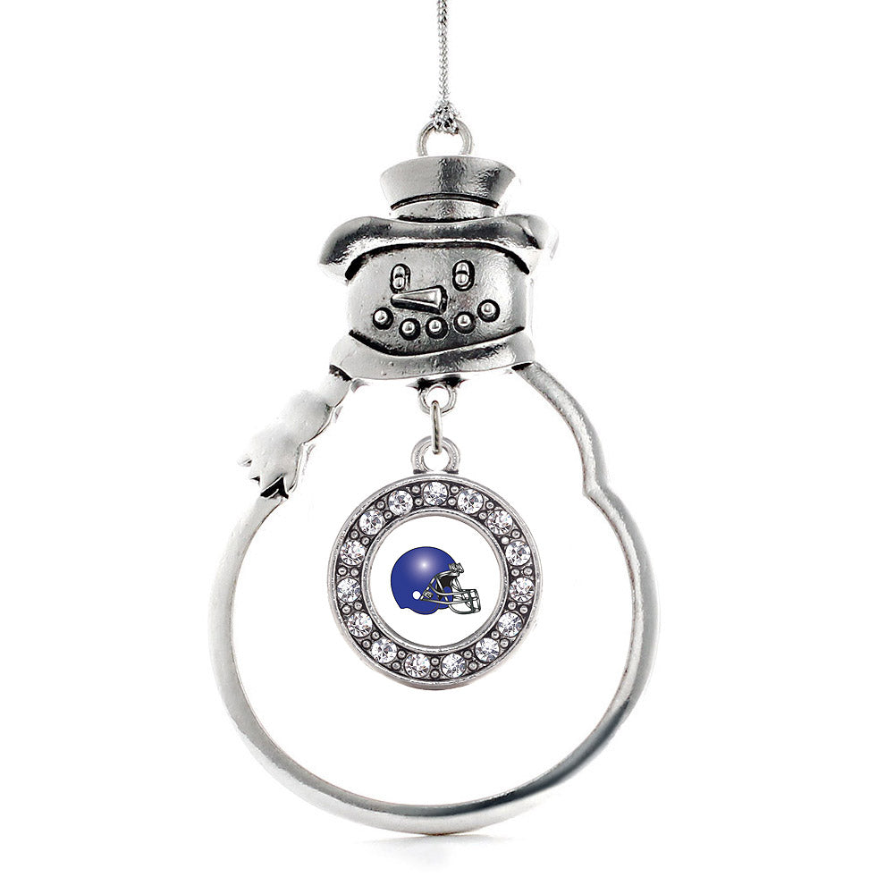 White and Blue Team Helmet Circle Charm Christmas / Holiday Ornament