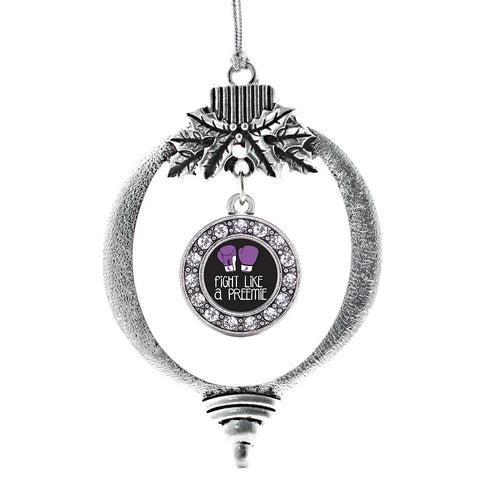 Fight Like A Preemie Circle Charm Christmas / Holiday Ornament