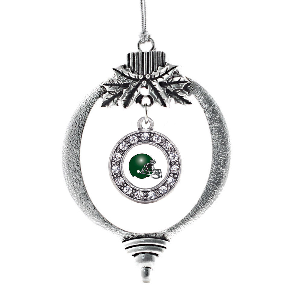 White and Green Team Helmet Circle Charm Christmas / Holiday Ornament
