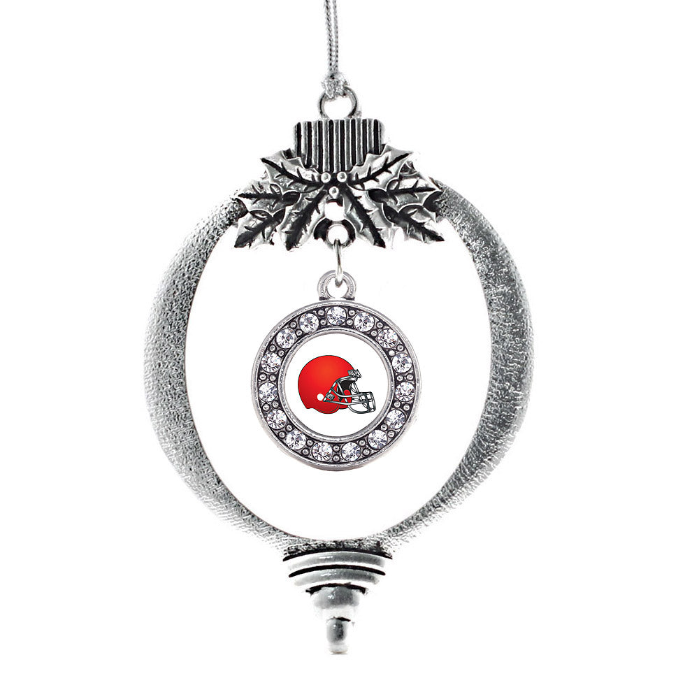 Red and White Team Helmet Circle Charm Christmas / Holiday Ornament