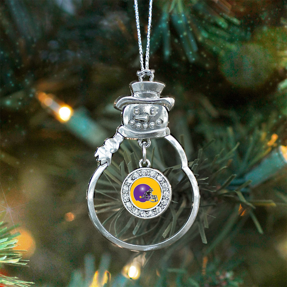 Yellow and Purple Team Helmet Circle Charm Christmas / Holiday Ornament