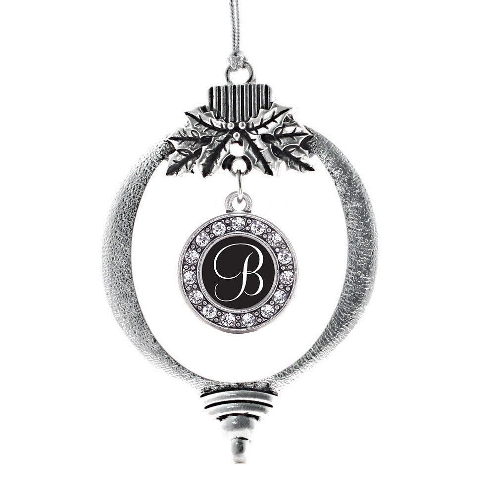 My Script Initials - Letter B Circle Charm Christmas / Holiday Ornament