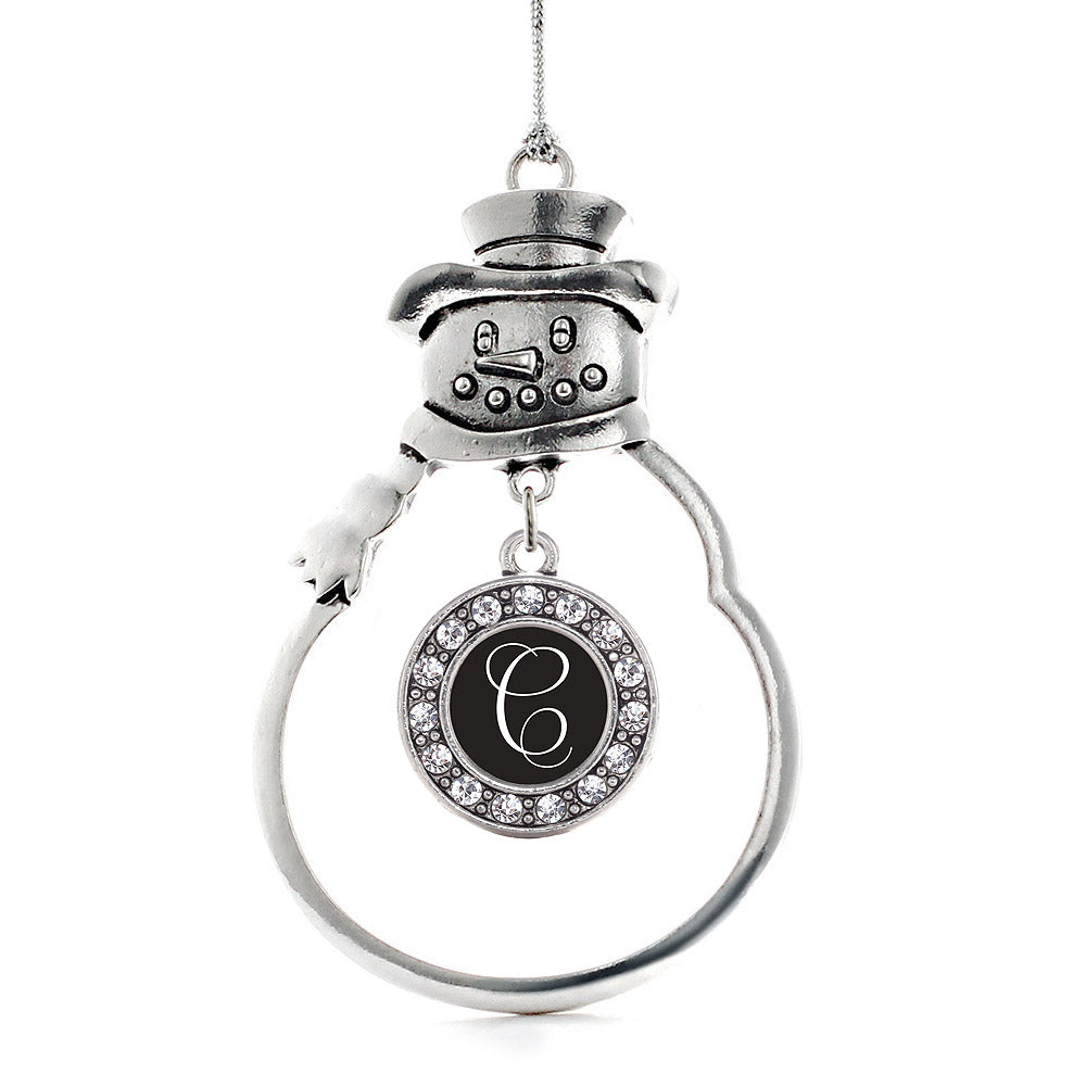My Script Initials - Letter C Circle Charm Christmas / Holiday Ornament