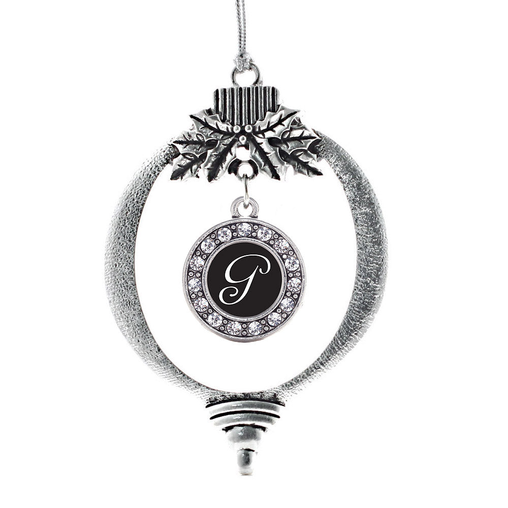 My Script Initials - Letter G Circle Charm Christmas / Holiday Ornament