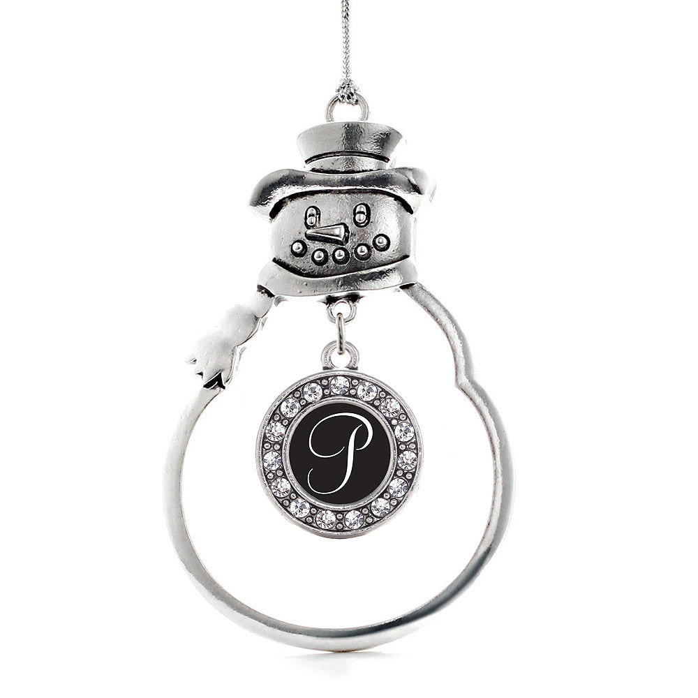 My Script Initials - Letter P Circle Charm Christmas / Holiday Ornament