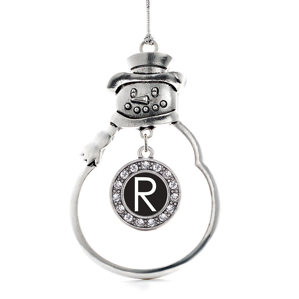 My Initials - Letter R Circle Charm Christmas / Holiday Ornament