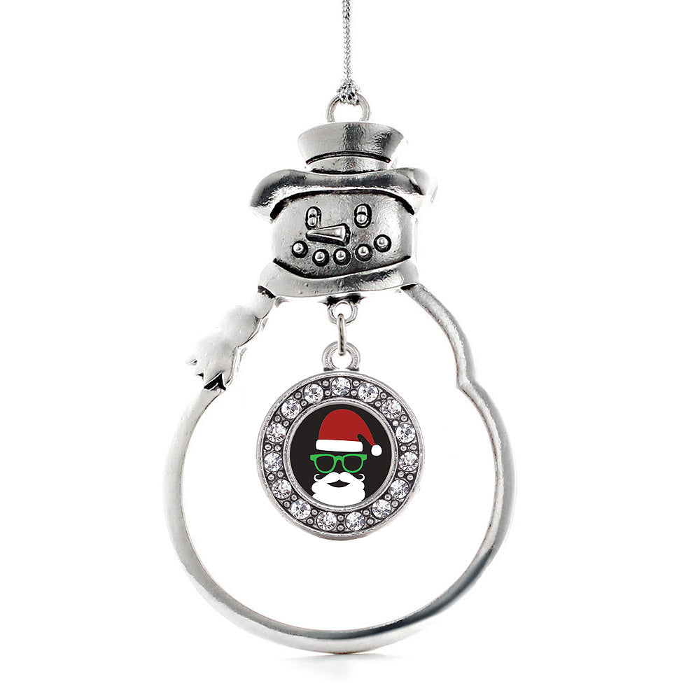 Hipster Santa Circle Charm Christmas / Holiday Ornament