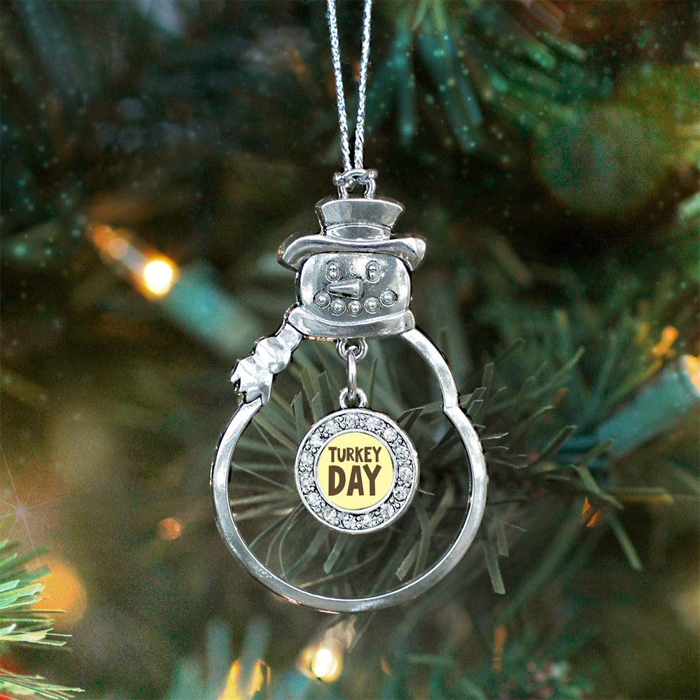 Turkey Day Circle Charm Christmas / Holiday Ornament