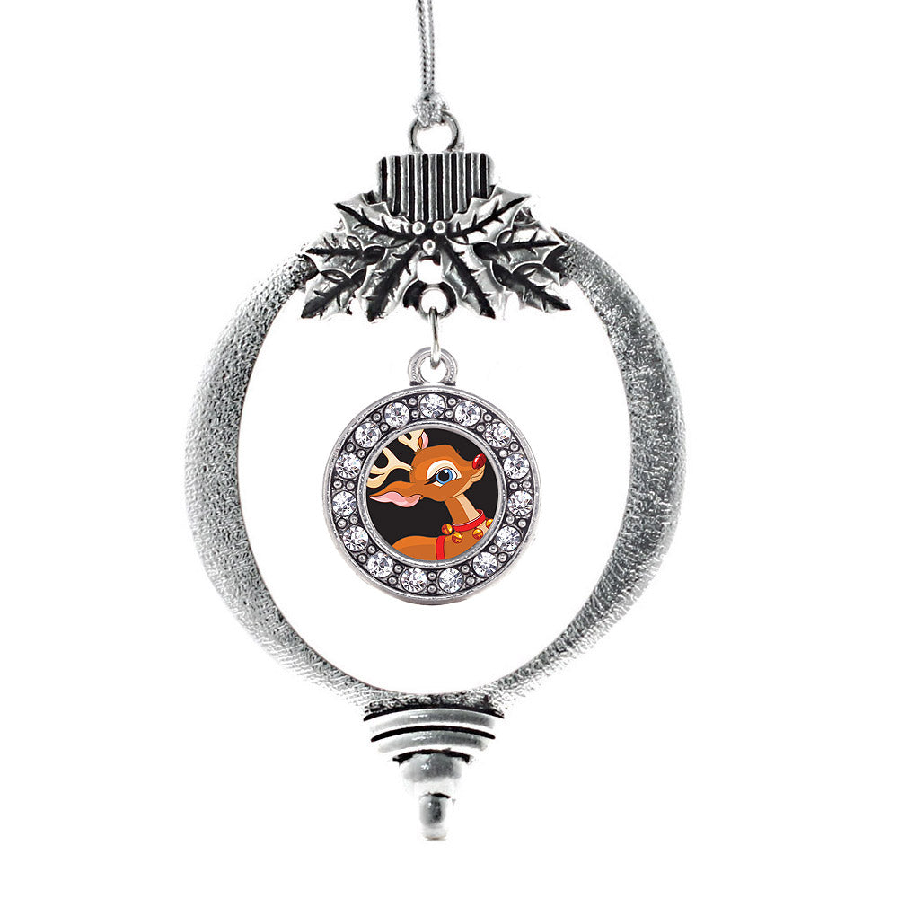 Red Nosed Reindeer Circle Charm Christmas / Holiday Ornament
