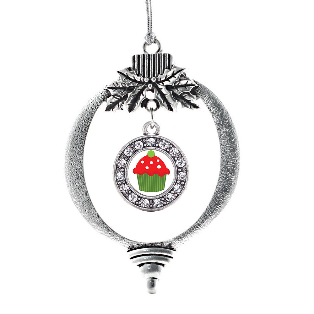 Holiday Cupcake Circle Charm Christmas / Holiday Ornament
