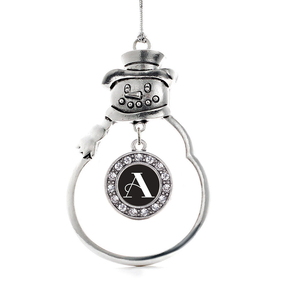 My Vintage Initials - Letter A Circle Charm Christmas / Holiday Ornament