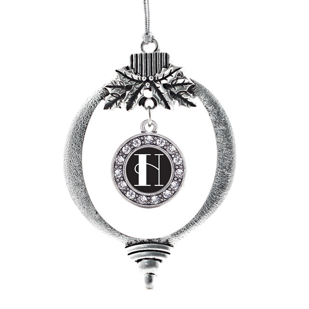 My Vintage Initials - Letter H Circle Charm Christmas / Holiday Ornament