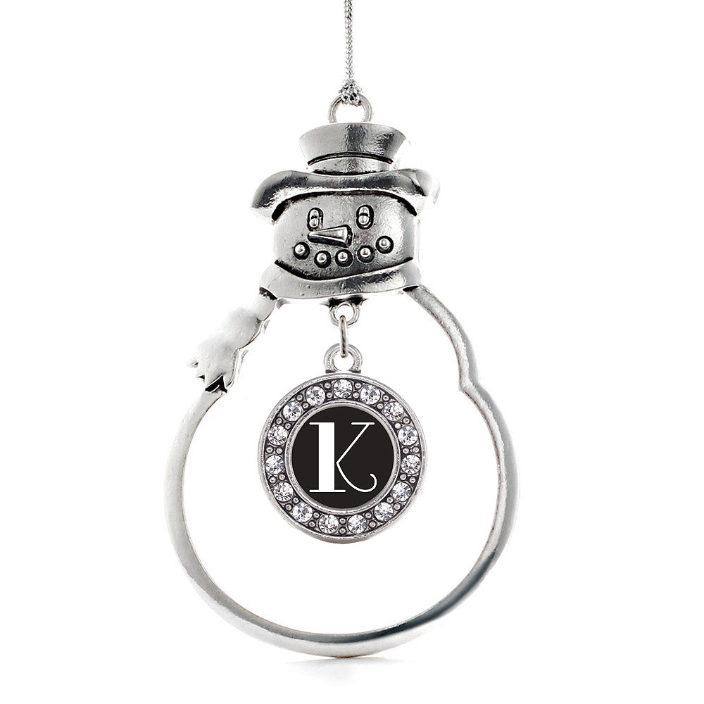 My Vintage Initials - Letter K Circle Charm Christmas / Holiday Ornament