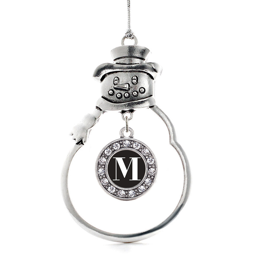 My Vintage Initials - Letter M Circle Charm Christmas / Holiday Ornament