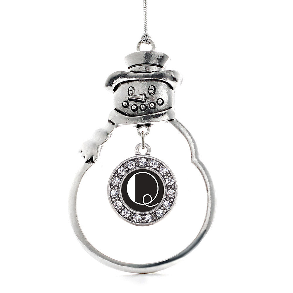 My Vintage Initials - Letter Q Circle Charm Christmas / Holiday Ornament