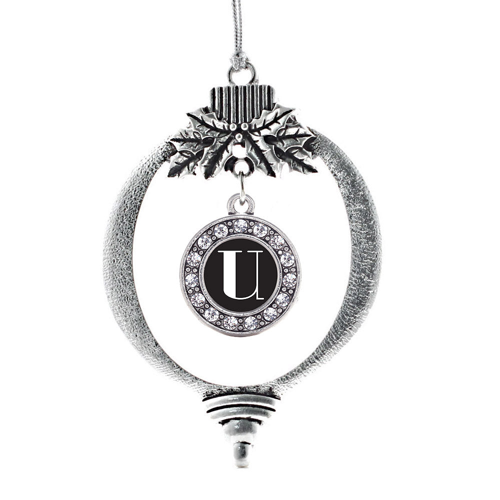 My Vintage Initials - Letter R Circle Charm Christmas / Holiday Ornament