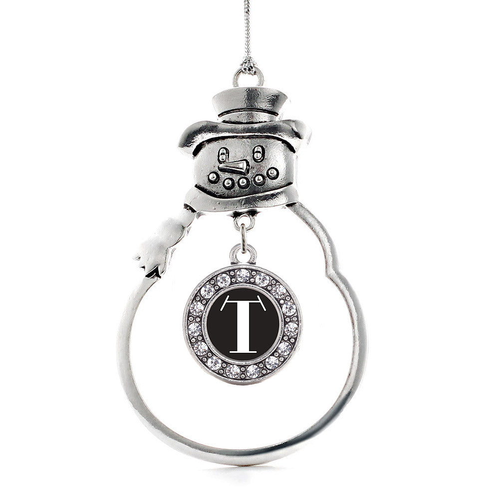 My Vintage Initials - Letter T Circle Charm Christmas / Holiday Ornament