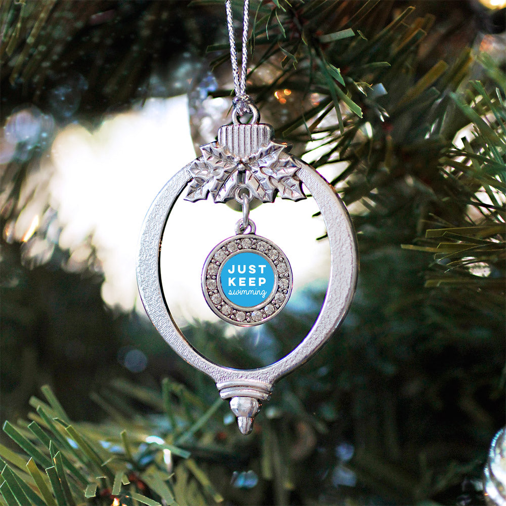 Just Keep Swimming Circle Charm Christmas / Holiday Ornament