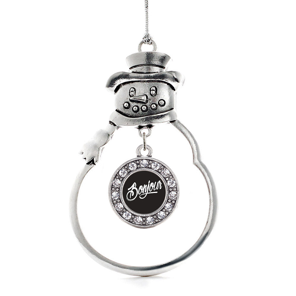 Bonjour Circle Charm Christmas / Holiday Ornament