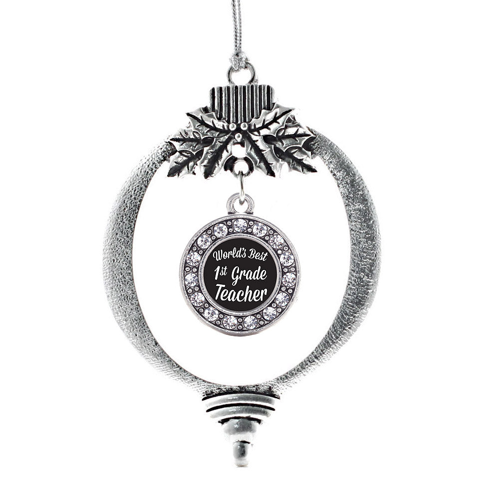 World's Best 1st Grade Teacher Circle Charm Christmas / Holiday Ornament