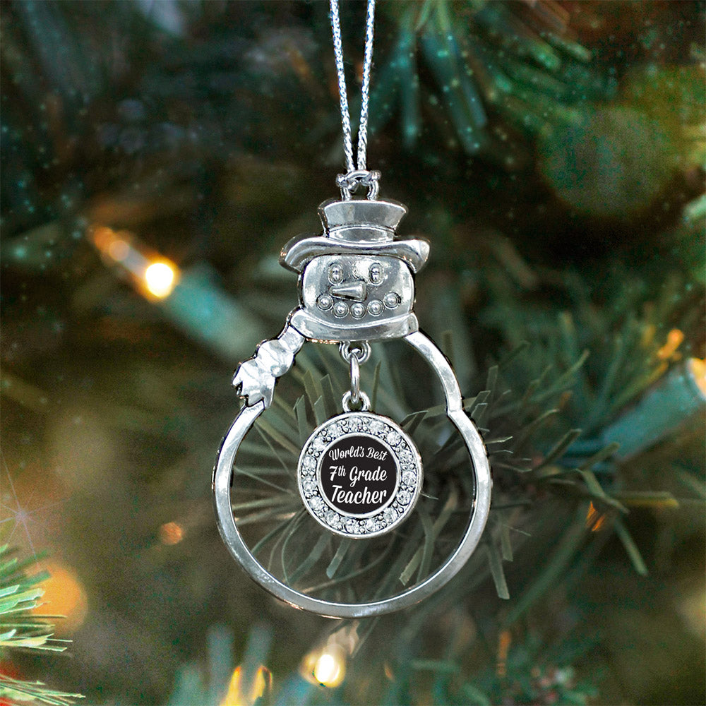 World's Best 7th Grade Teacher Circle Charm Christmas / Holiday Ornament