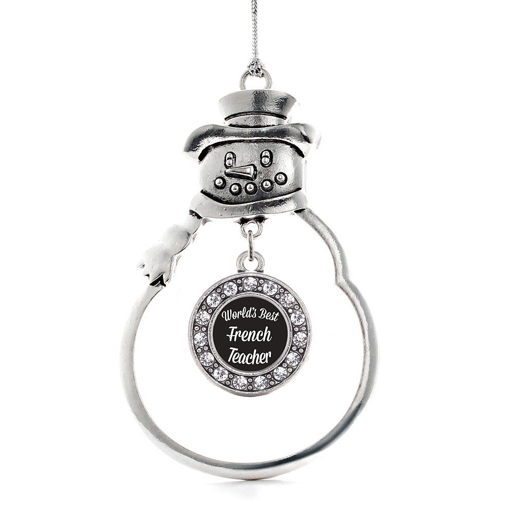 World's Best French Teacher Circle Charm Christmas / Holiday Ornament