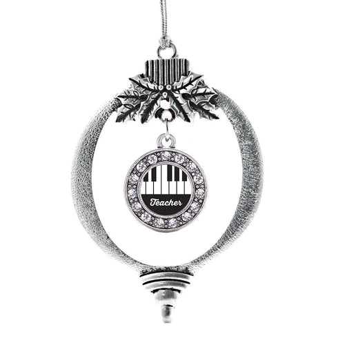 Piano Teacher Circle Charm Christmas / Holiday Ornament
