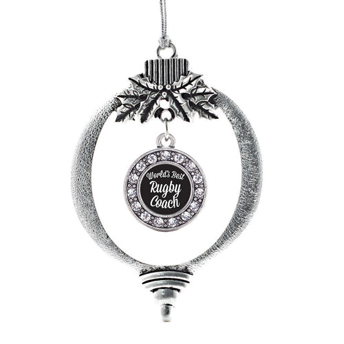 World's Best Rugby Coach Circle Charm Christmas / Holiday Ornament