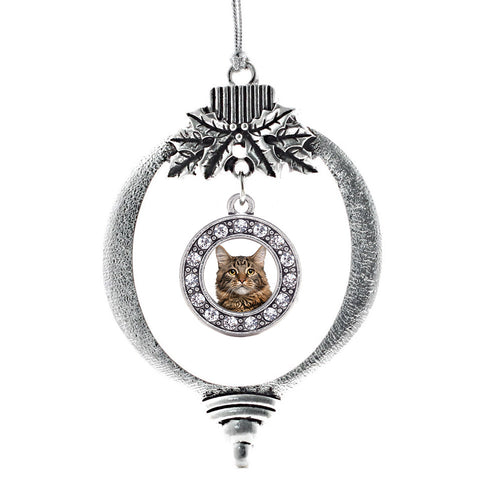 Maine Coon Cat Circle Charm Christmas / Holiday Ornament