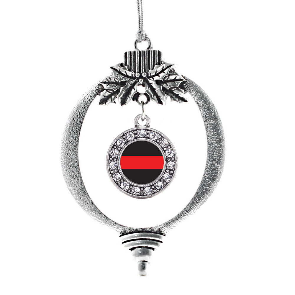 Thin Red Line Fire Department Support Circle Charm Christmas / Holiday Ornament