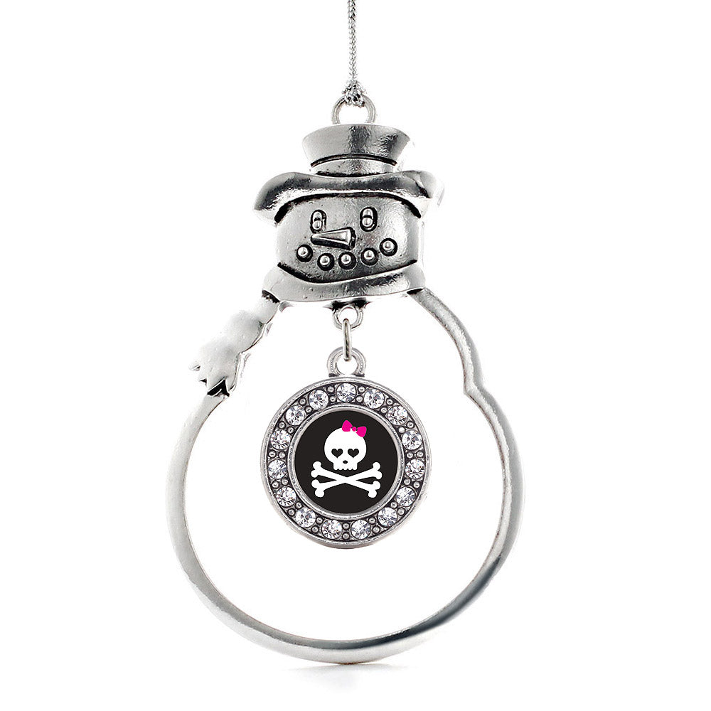 Cute Skull and Crossbones Circle Charm Christmas / Holiday Ornament