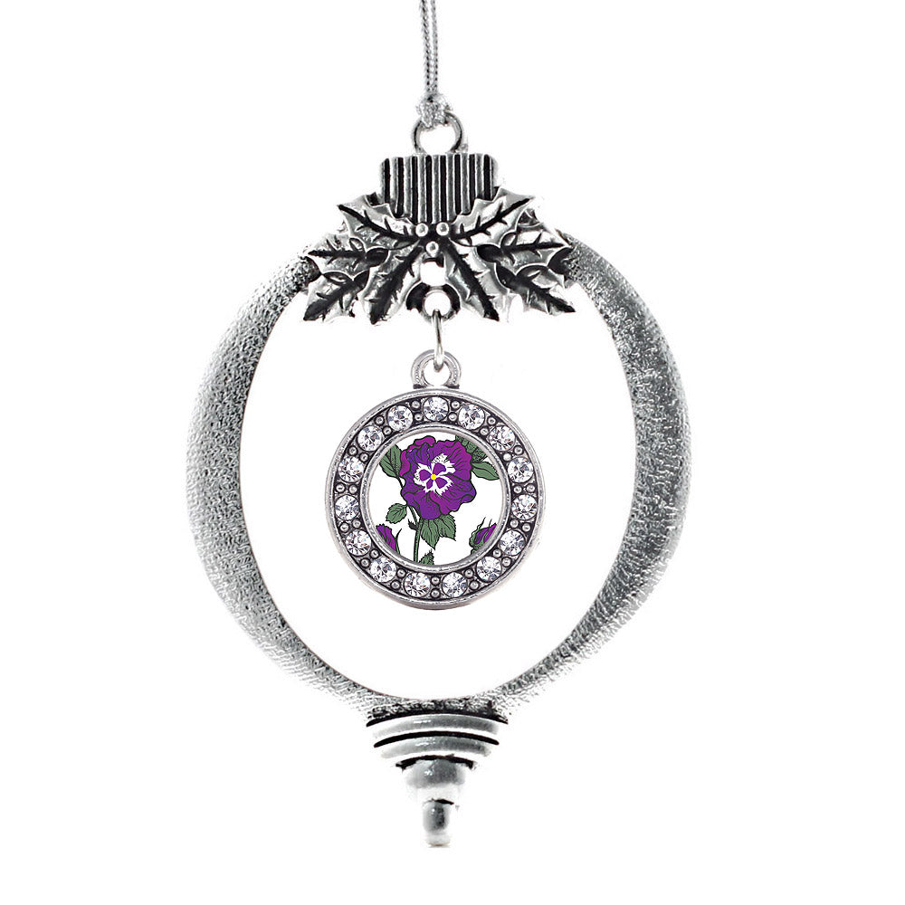 Pansy Flower Circle Charm Christmas / Holiday Ornament