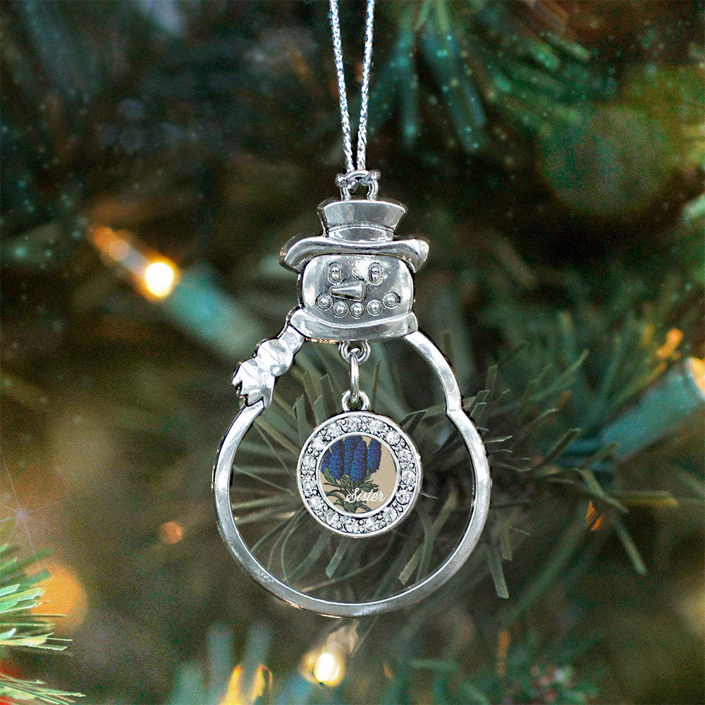 Sister Delphinium Flower Circle Charm Christmas / Holiday Ornament